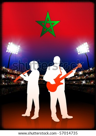 Morocco Flag with Live Music Band on Stadium Background Original Illustration - stock vector