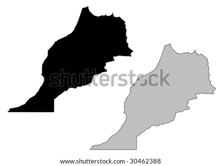 Morocco map. Black and white. Mercator projection. - stock vector