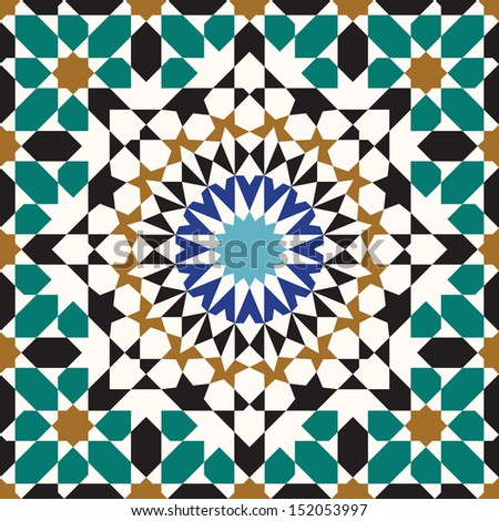 Morocco Seamless Pattern. Traditional Arabic Islamic Background. Mosque decoration element. - stock vector