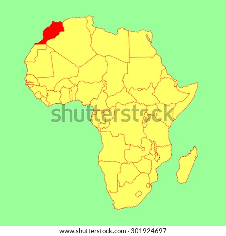 Morocco vector map isolated on Africa map. Editable vector map of Africa. - stock vector
