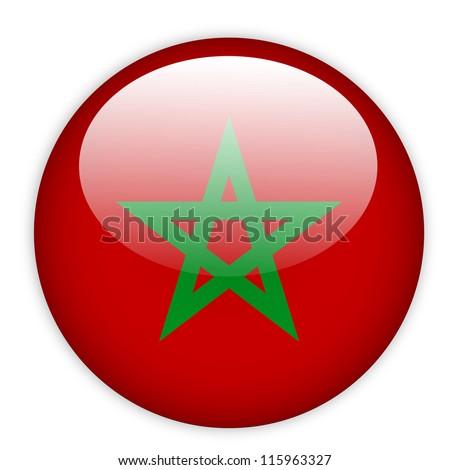 Moroco flag button on white - stock vector