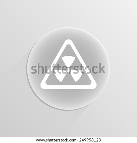 mortal danger Nuclear sign on a white button with shadow - stock vector