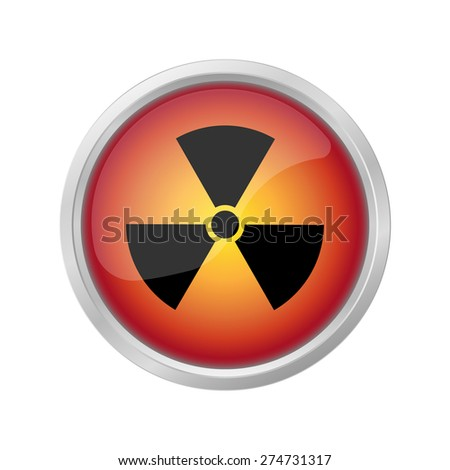 mortal danger Nuclear sign on red button - stock vector