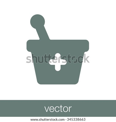 Mortar and pestle pharmacy flat icon. Bowl icon. Concept flat style design illustration icon. - stock vector