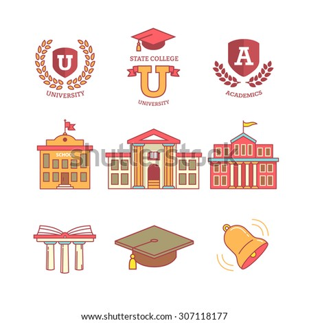 Mortar board, education, school, academy, college and university, library emblems and buildings. Thin line icons set. Modern flat style symbols isolated on white for infographics or web use. - stock vector