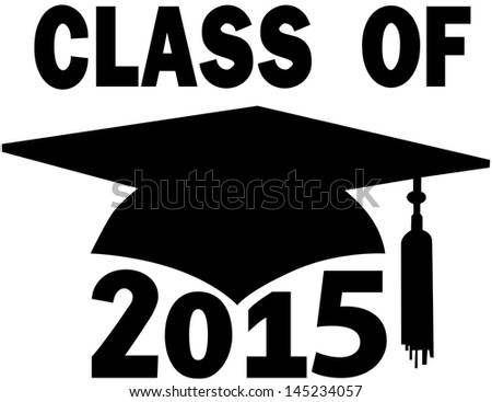 Mortar board Graduation Cap for College or High School graduating Class of 2015 - stock vector