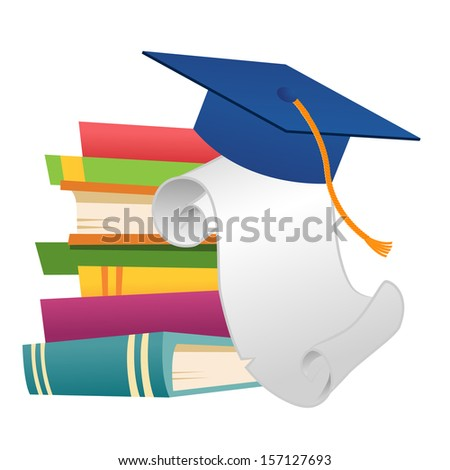 Mortar board on piles of book with degree  - stock vector