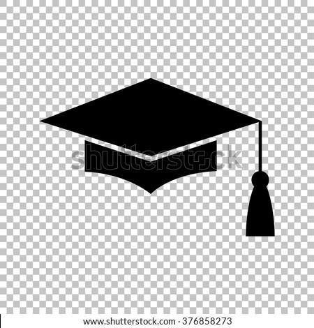 Mortar Board or Graduation Cap, Education symbol. Flat style icon vector illustration. - stock vector