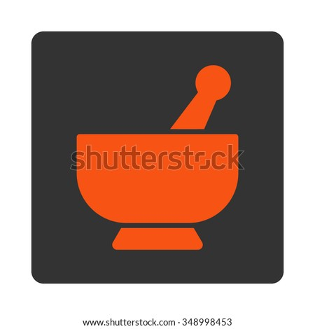 Mortar vector icon. Style is flat rounded square button, orange and gray colors, white background. - stock vector