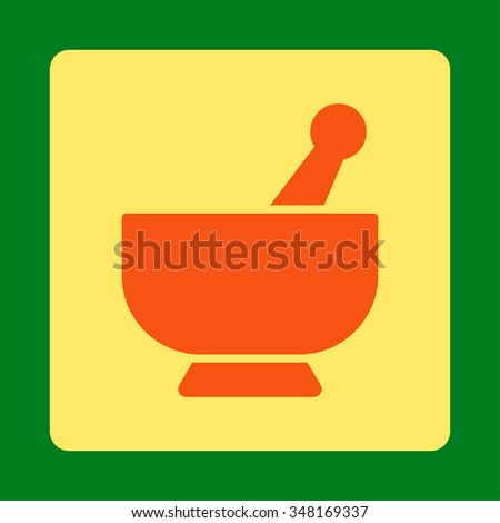 Mortar vector icon. Style is flat rounded square button, orange and yellow colors, green background. - stock vector