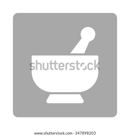 Mortar vector icon. Style is flat rounded square button, white and silver colors, white background. - stock vector