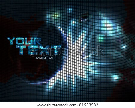 Mosaic background, blue light explosion. Vector illustration. - stock vector