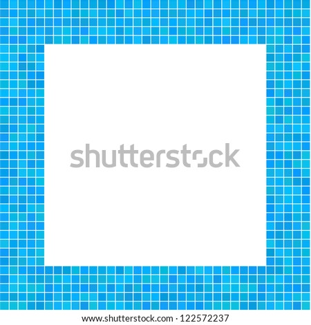 Mosaic Frame Blue for your design - stock vector