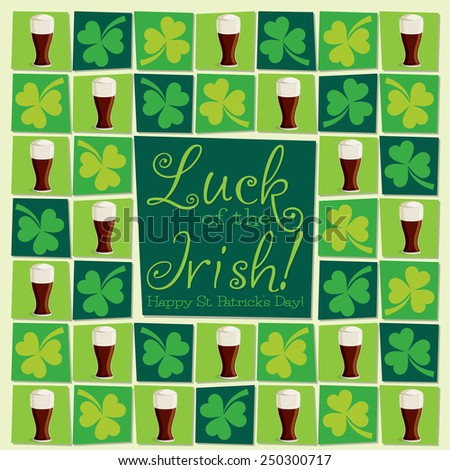 Mosaic funky St. Patrick's Day card in vector format. - stock vector