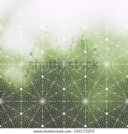 Mosaic pattern with stained glass window effect, abstract green wave background. - stock vector