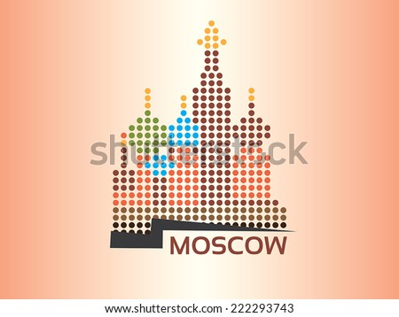 Moscow - Saint Basil's Cathedral dotted style illustration - stock vector