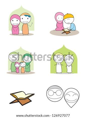 moslem family - stock vector
