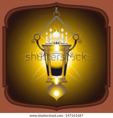 Moslem Islam Eid Mubarak Lantern - stock vector