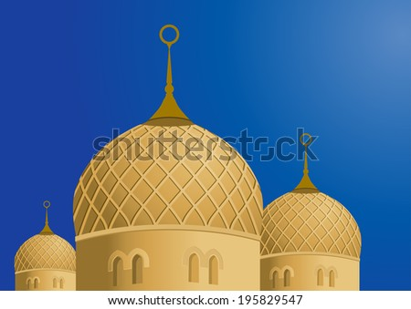 Mosque and Blue Sky - Vector Illustration - stock vector