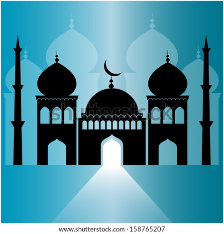 mosque on blue background with light ray from the door.  - stock vector