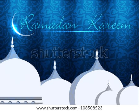 Mosque or Masjid with shiny moon and text Ramadan Kareem. EPS 10. - stock vector