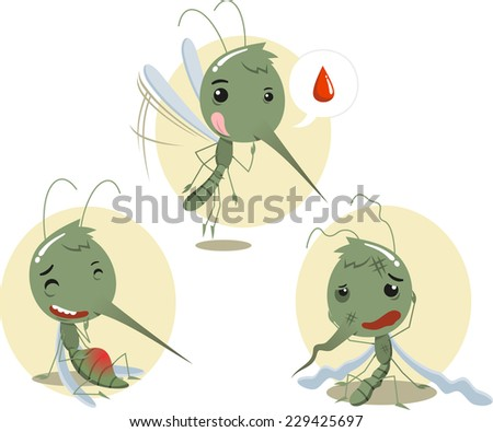 Mosquito Mosquitoes Set I, vector illustration cartoon. - stock vector