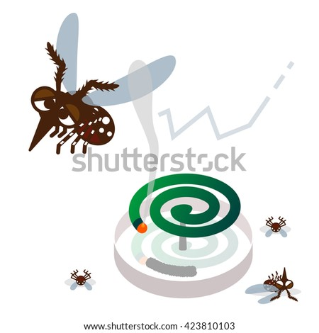 Mosquito repellent coil and mosquito - stock vector