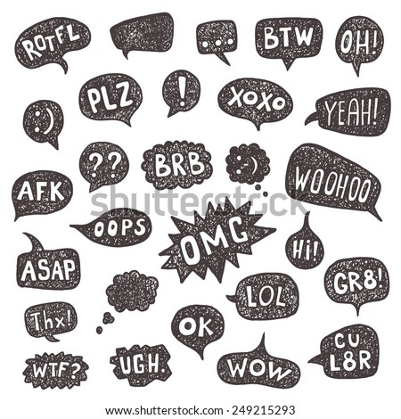 Most common used acronyms and abbreviations set on hand drawn speech bubbles. - stock vector
