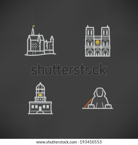 Most famous Architecture Landmarks Around the World - Neuschwanstein Castle (Germany), Notre Dame (France), Citadel Hill (Canada), Sphinx (Egypt),  - stock vector