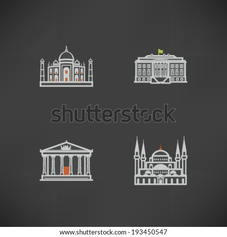 Most famous Architecture Landmarks Around the World -  Taj Mahal (India), White House (USA), Parthenon (Greece), Hagia Sofia (Turkey). - stock vector