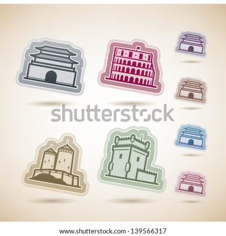 Most famous Architecture Landmarks, pictured here from left to right, top to bottom: Namdaemun-Sungnyemun (Korea), Colosseum (Italy), Suomenlinna Castle (Finland), Belem Tower (Portugal) - stock vector