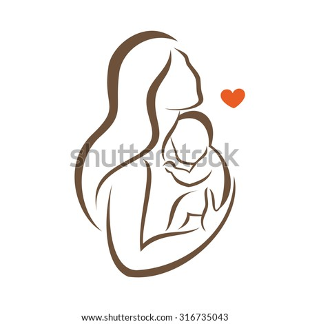mother and baby stylized vector silhouette, outlined sketch of mom and child - stock vector