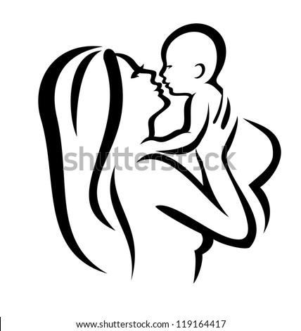 mother and baby vector silhouette, sketch in black lines - stock vector