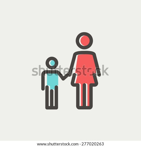 Mother and child icon thin line for web and mobile, modern minimalistic flat design. Vector icon with dark grey outline and offset colour on light grey background. - stock vector