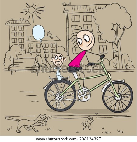 Mother and child riding a bicycle. Vector cartoon illustration - stock vector