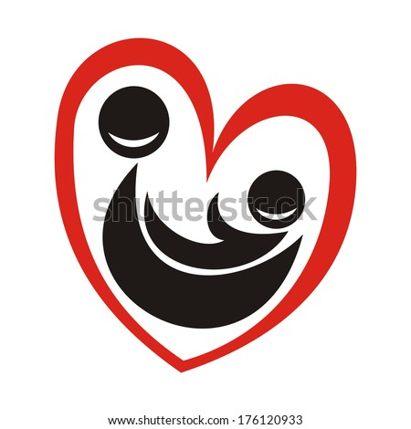 Mother and child sign vector illustration - stock vector