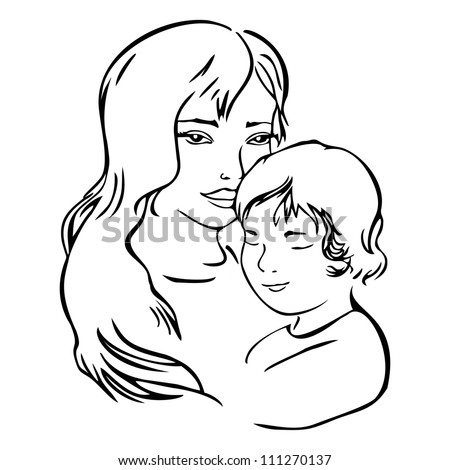 mother and child, vector illustration - stock vector