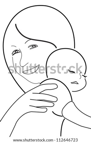 mother and child, vector sketch in black lines - stock vector