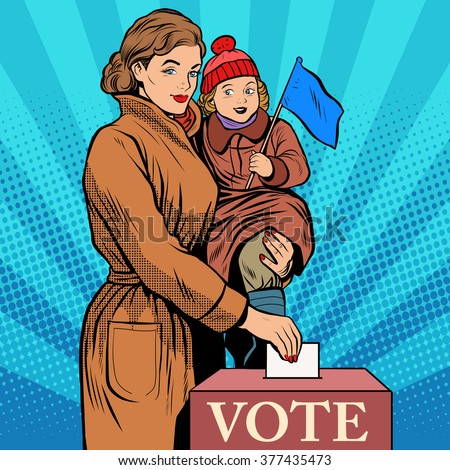 Mother and child women vote in elections - stock vector