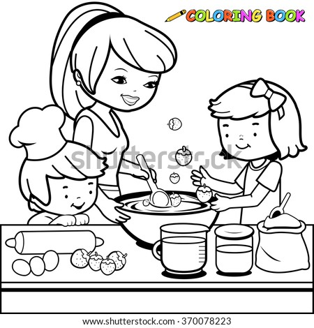 Mother and children cooking in the kitchen coloring book page.  - stock vector