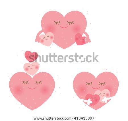 mother and children heart - stock vector