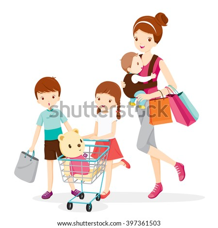 Mother And Children Shopping Together, Mother, Shopping, Retail, Family, Child, Shopping Cart, Pushcart, Trolley, Shopping Bag - stock vector