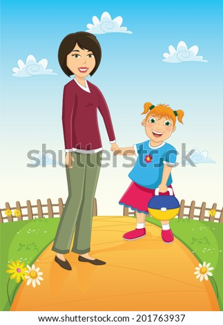 Mother and Daughter Vector Illustration - stock vector