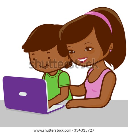 Mother and son on the computer.  - stock vector