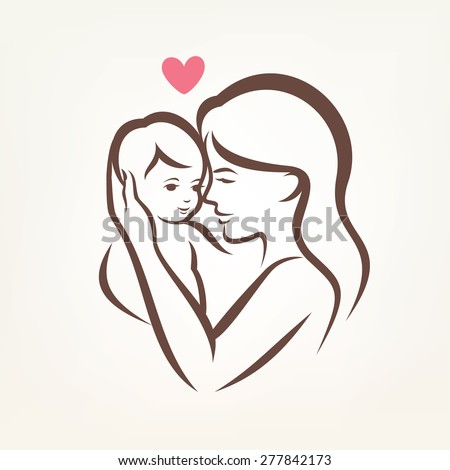 mother and son stylized vector silhouette, outlined sketch of mom and child - stock vector