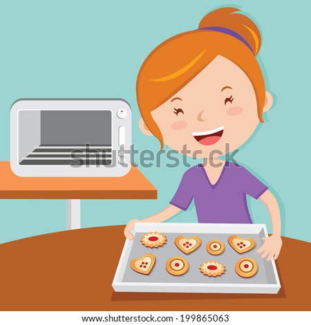 Mother baking tarts. Cheerful young woman baking cookies. - stock vector