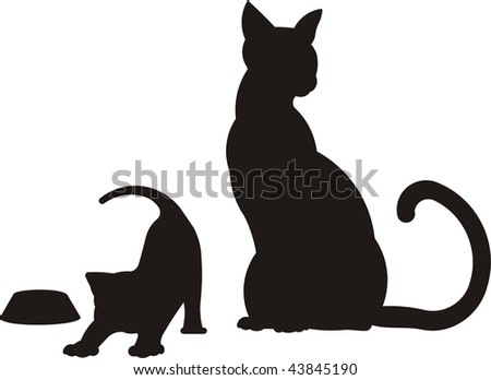 mother cat and kitten - stock vector