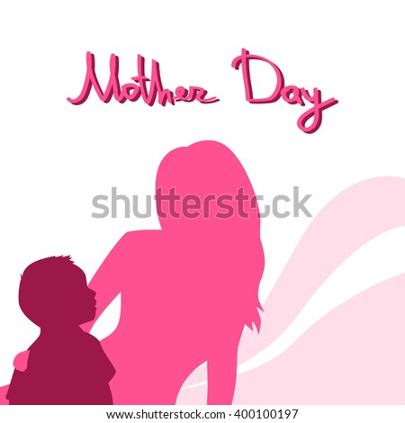 Mother Day, Silhouette Woman Sit Embracing Child, Family Love Greeting Card, Abstract Background Flat Vector Illustration - stock vector