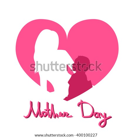 Mother Day, Silhouette Woman Sit Embracing Child, Family Love Greeting Card Heart Shape Background Flat Vector Illustration - stock vector
