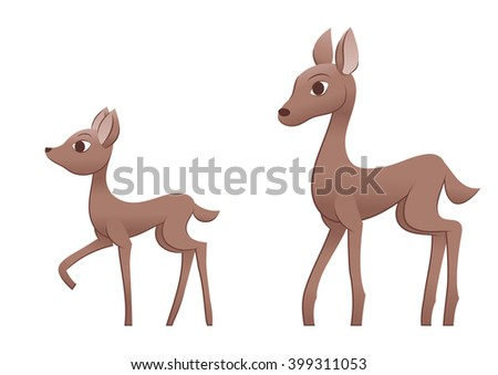 Mother deer and fawn - stock vector